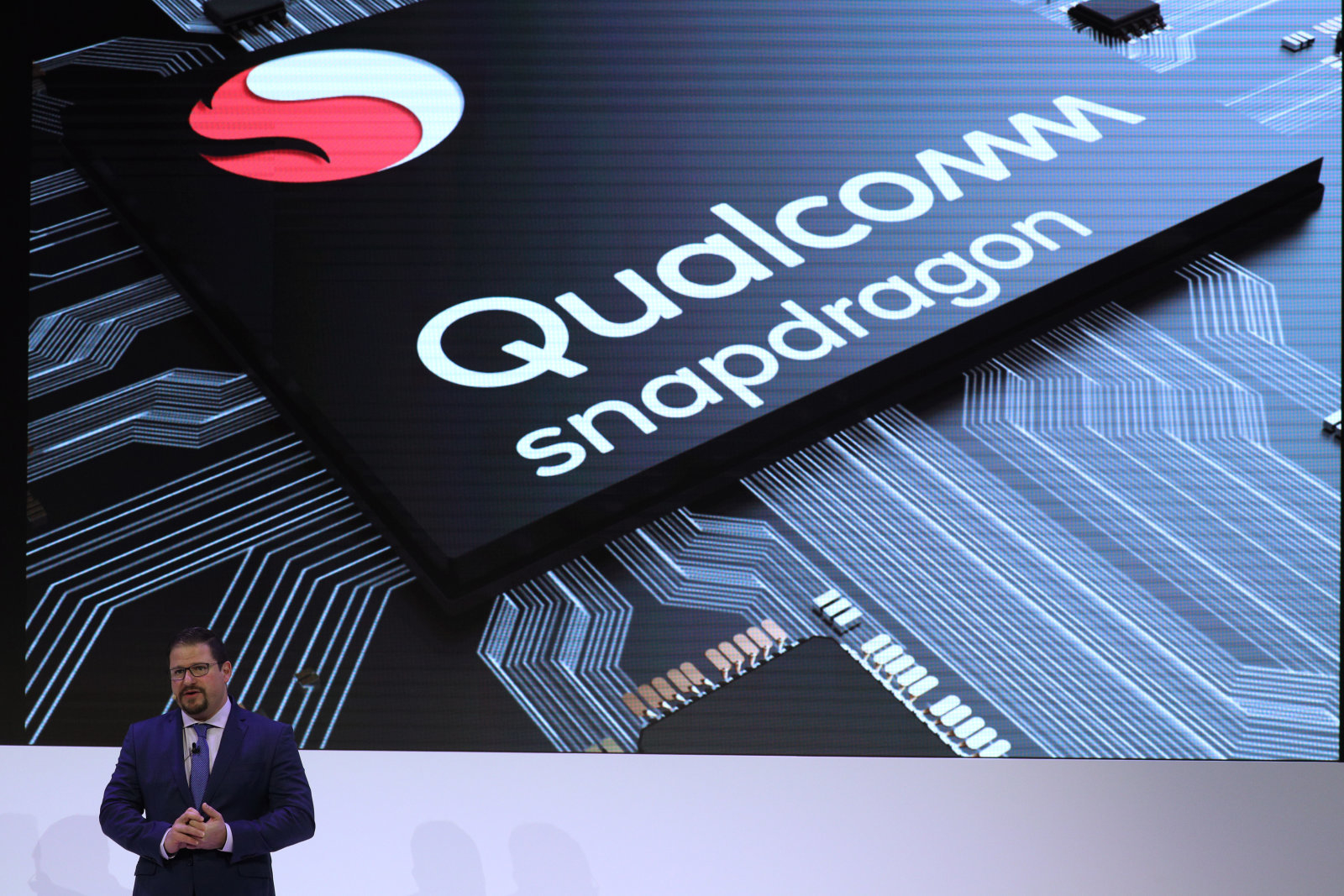 Cristiano Amon, President of Qualcomm Incorporated, delivers a presentation during the Mobile World Congress in Barcelona, Spain, February 26, 2018. REUTERS/Sergio Perez