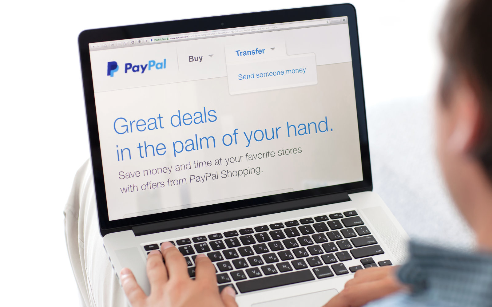 Simferopol, Russia - July 9, 2014: PayPal the largest operator of electronic money it was founded in 1998. PayPal is the most popular way of reception and sending the Internet of payments at the eBay auction.
