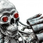 Piece of modern warfare, robot closeup photo