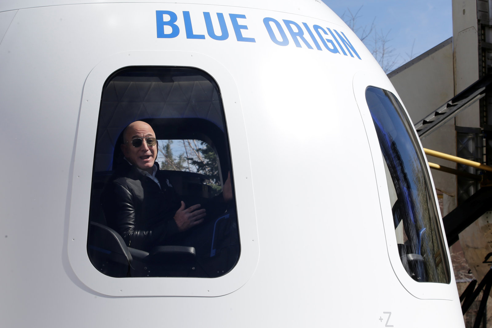 Amazon and Blue Origin founder Jeff Bezos addresses the media about the New Shepard rocket booster and Crew Capsule mockup at the 33rd Space Symposium in Colorado Springs, Colorado, United States April 5, 2017.  REUTERS/Isaiah J. Downing     TPX IMAGES OF THE DAY