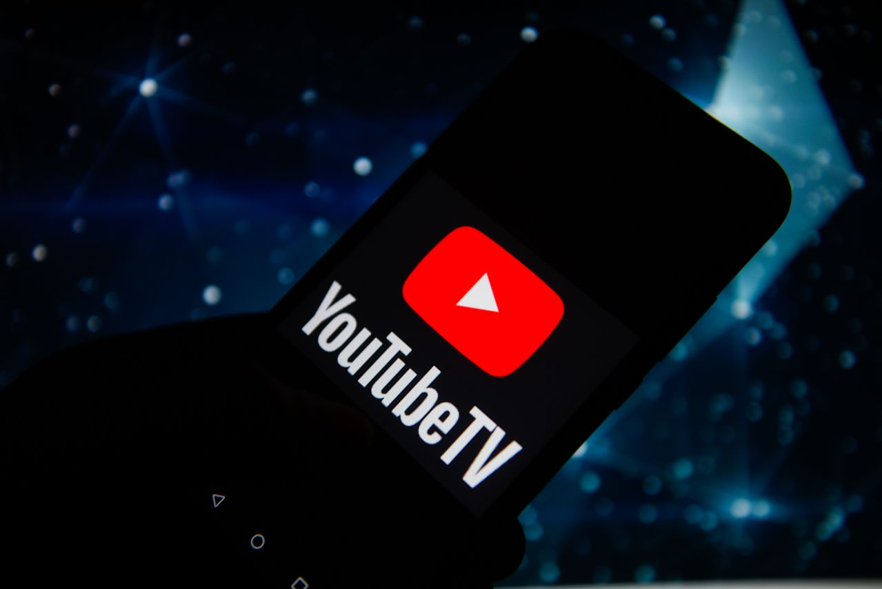 POLAND - 2019/11/22: In this photo illustration a Youtube TV logo seen displayed on a smartphone. (Photo Illustration by Omar Marques/SOPA Images/LightRocket via Getty Images)
