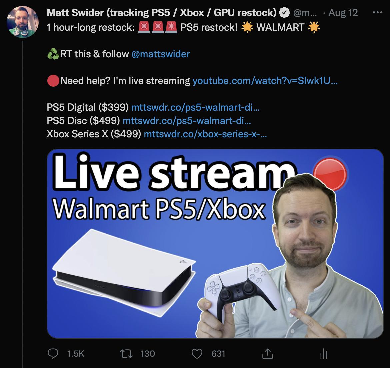 PS5 restock Twitter alerts in US from Matt Swider