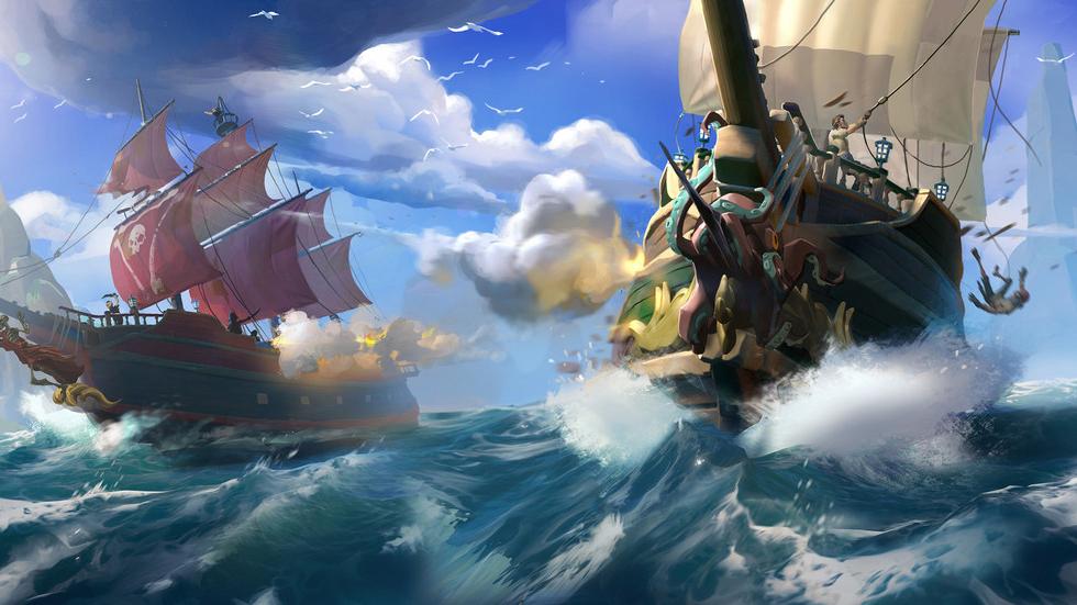 Sea of Thieves sailing and battling