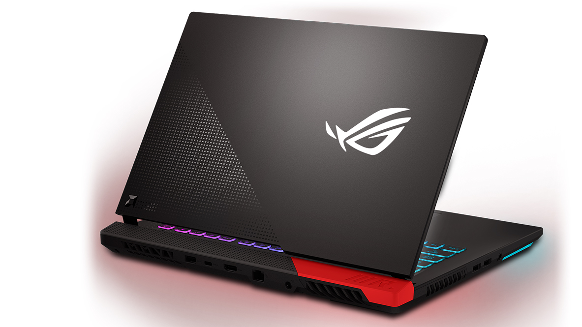Asus ROG Strix G15 AMD Advantage Edition. The gaming laptop is shot from the back, showing the Asus ROG logo and the red accent on the back of the device.