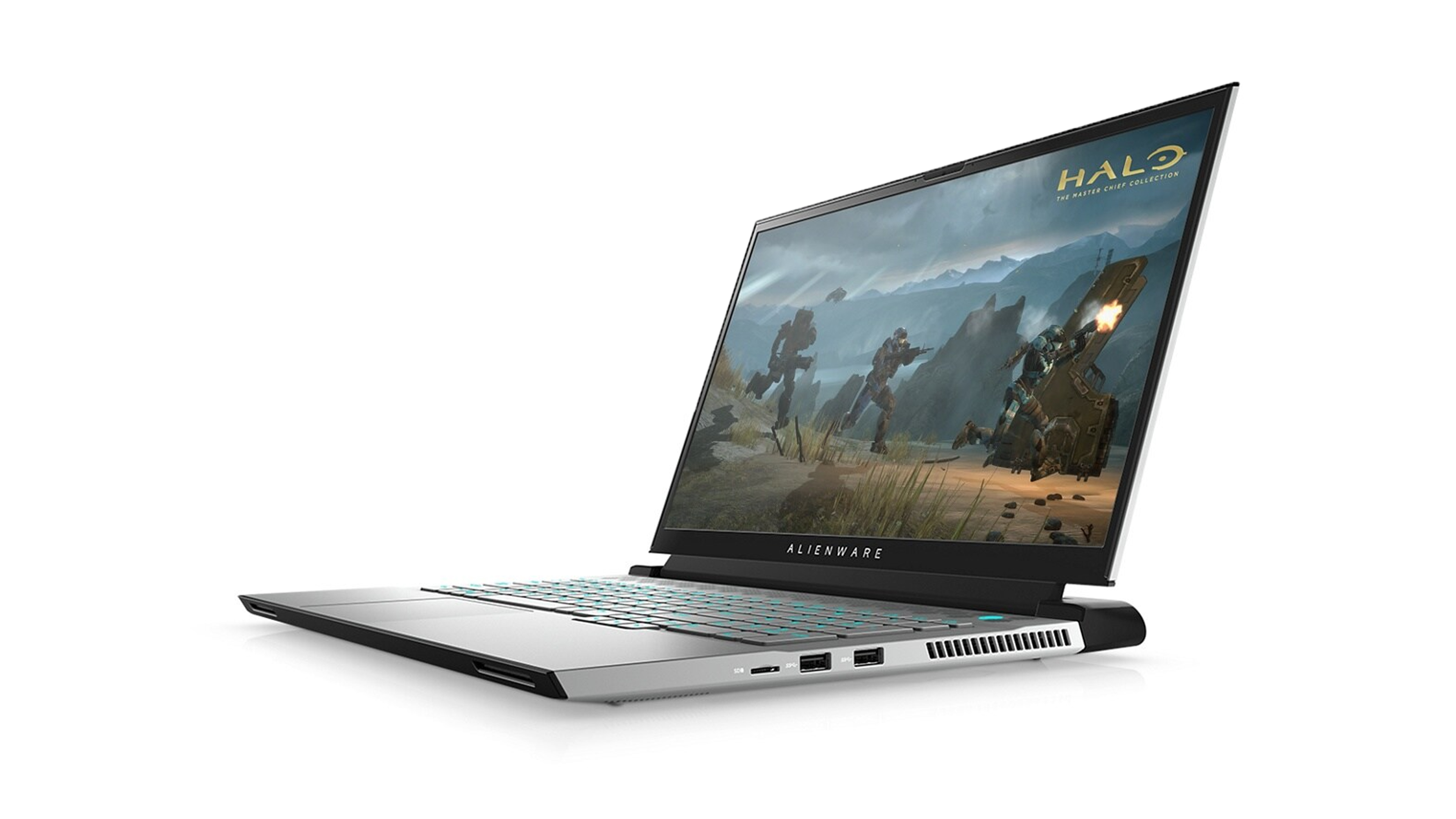 Alienware m17 R4 at an angle on a white background. The gaming laptop is open, with a screenshot of Halo: The Master Chief Collection. You can see the right-side ports, along with some ventilation.