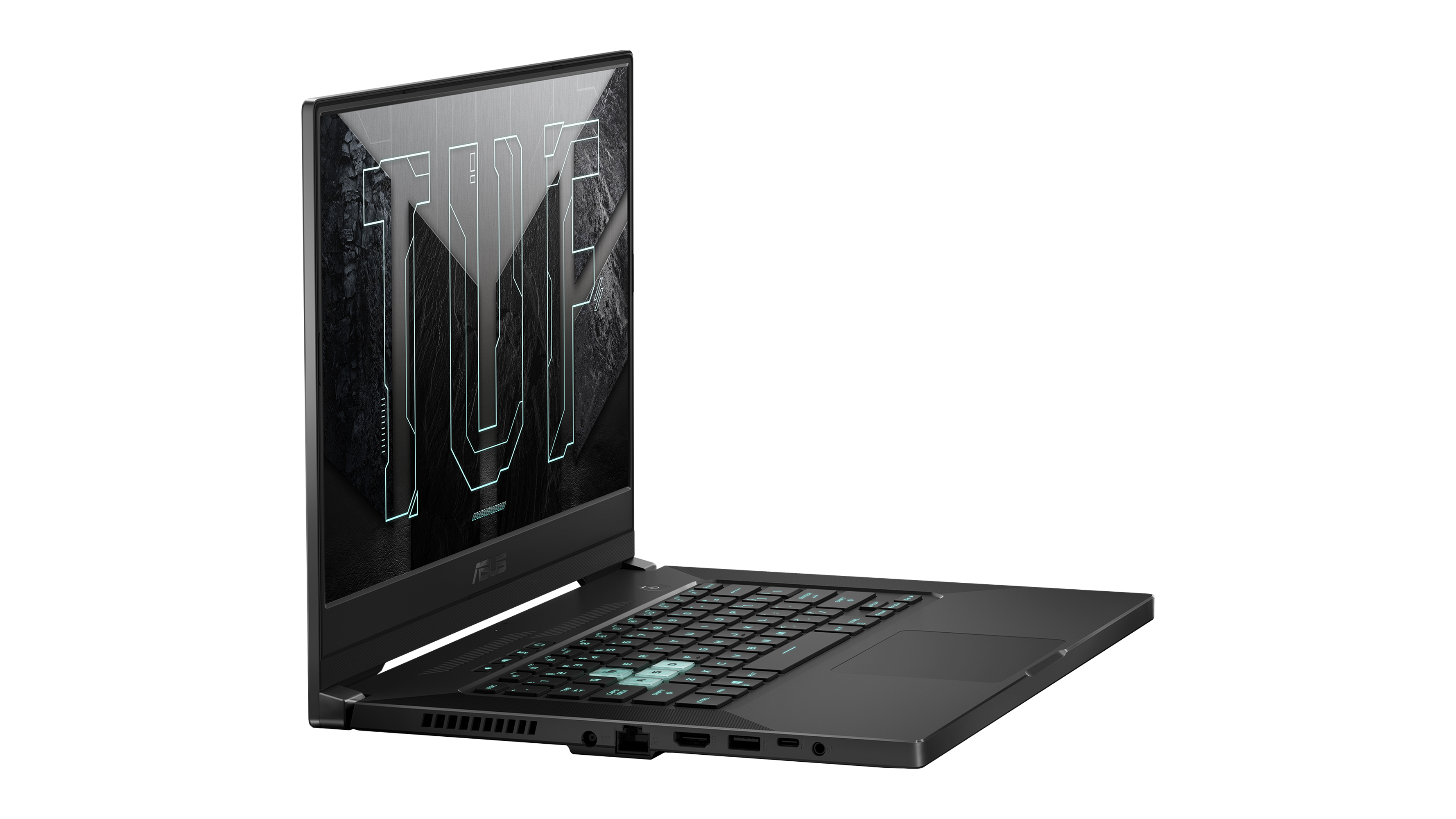 The Asus TUF Dash F15 from the side, where you can see the gaming laptop's left-side ports. There's an Asus TUF logo on the display.
