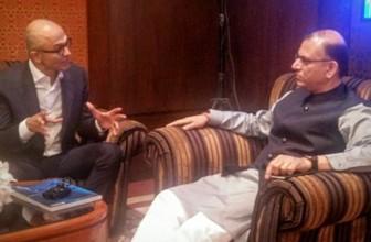 Satya Nadella in India: Microsoft CEO meets Jayant Sinha & Ravi Shankar Prasad
